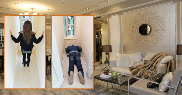 The domestic worker's room (insets) at a show flat in the project. Photo: HKEJ, Apple Daily, Mingpao