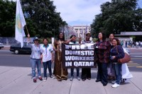 Global: IDWF demonstration to Qatar in front of UN