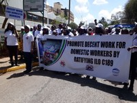 Kenya: Domestic workers participate in the C189 procession before the Parliament