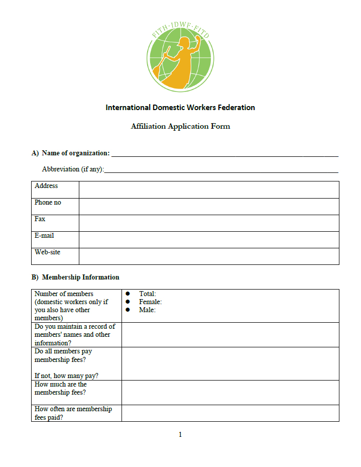 IDWF Affiliation Application Form photo COVER