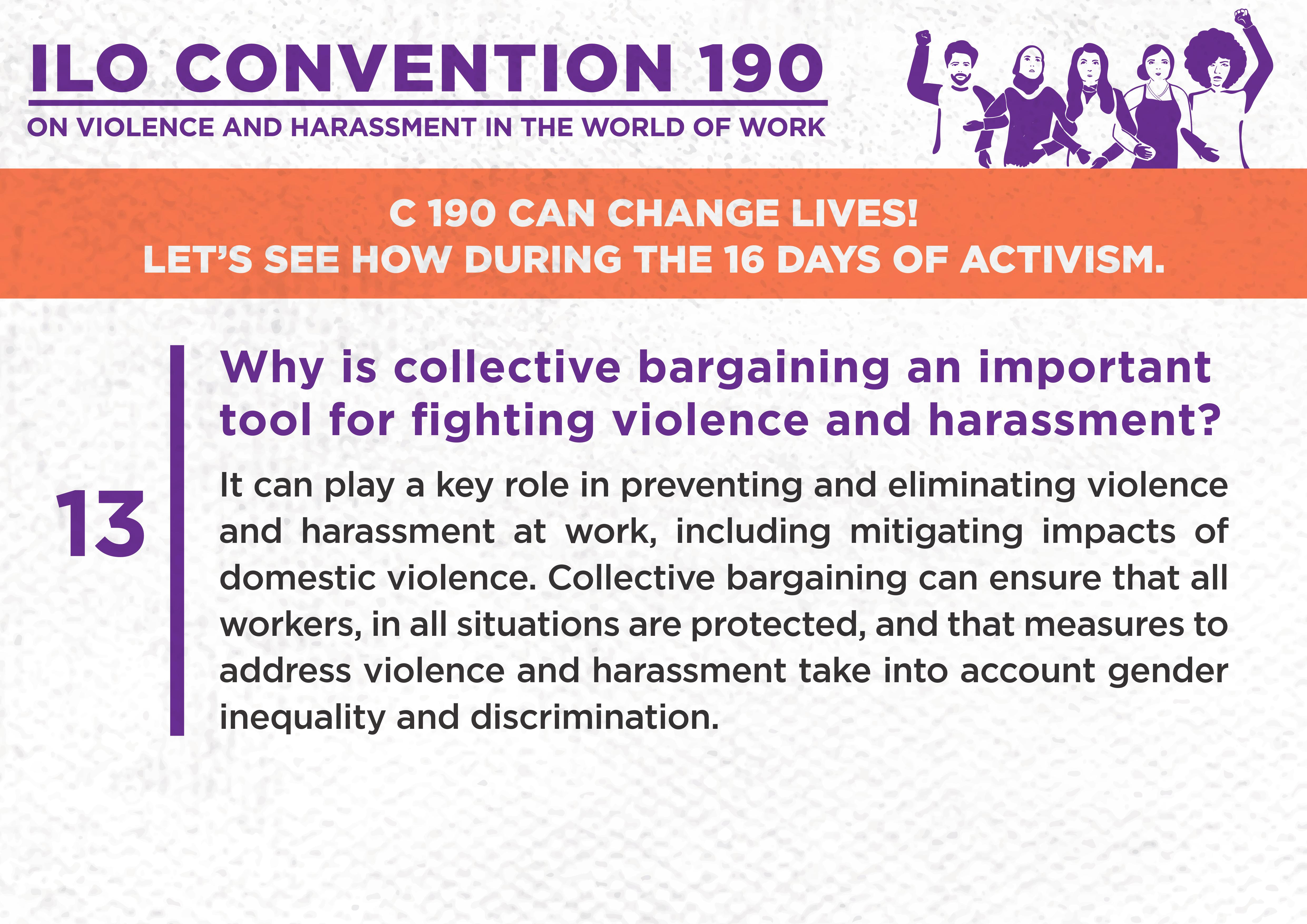 13. Why is collective bargaining an important tool for fighting violence and harassment?