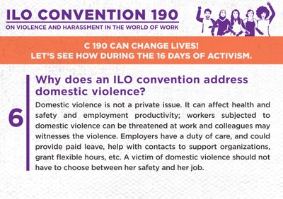 6. Why does an ILO convention address domestic violence?