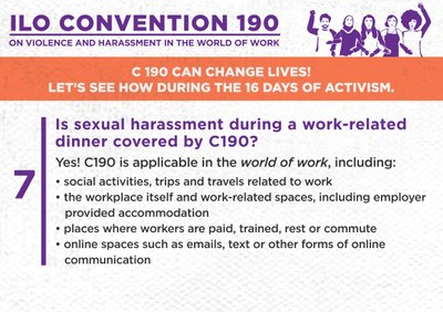 7. Is sexual harassment during a work-related dinner covered by C190?