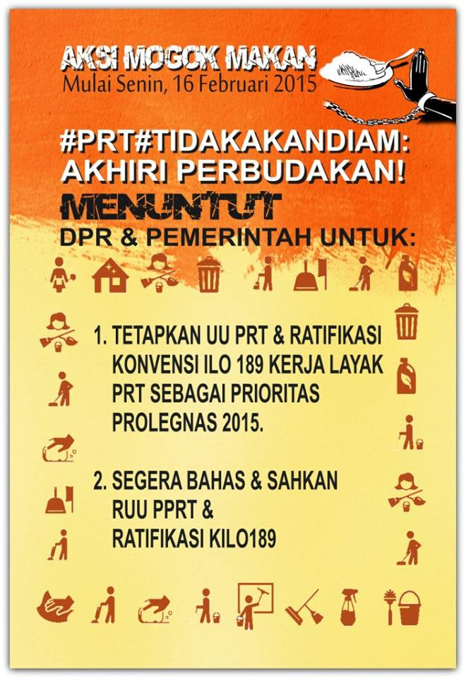 16 Feb 2015 Hunger strike poster, demand for domestic workers bill and ratification C189