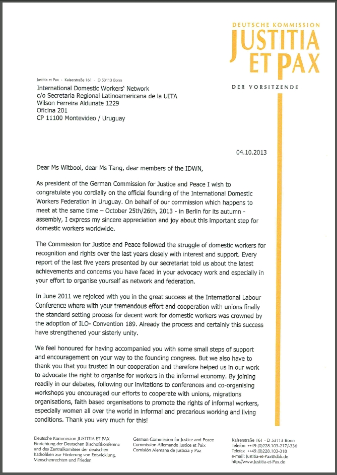 Solidarity message of the German Commission for Justice and Peace