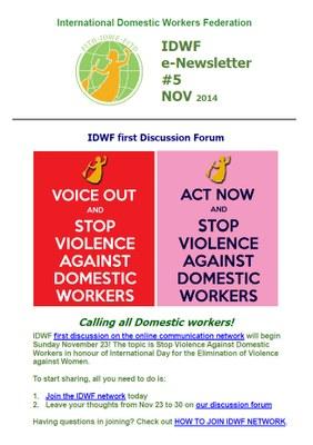 IDWF e-Newsletter #5 - NOV 2014