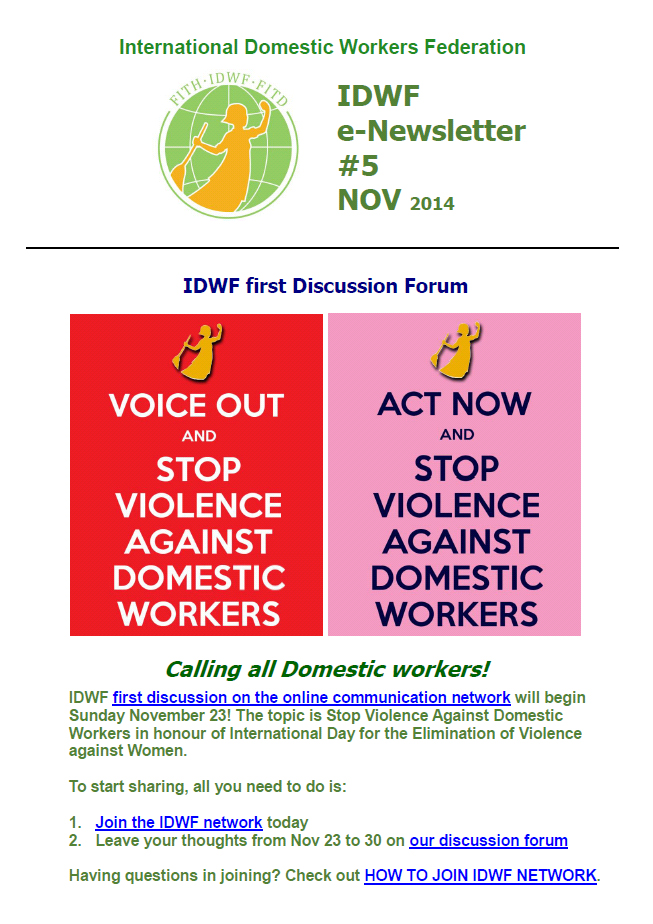 IDWF e-Newsletter #5 - NOV 2014