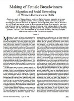 Making of Female Breadwinners Migration and Social Networking of Women Domestics in Delhi