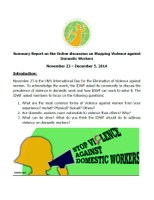 IDWF Online Discussion: Summary Report on Stopping Violence against Domestic Workers