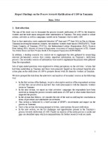 Report Findings on the Process towards Ratification of C189 in Tanzania