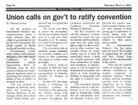 Antigua and Barbuda: Union calls on government to ratify convention 189