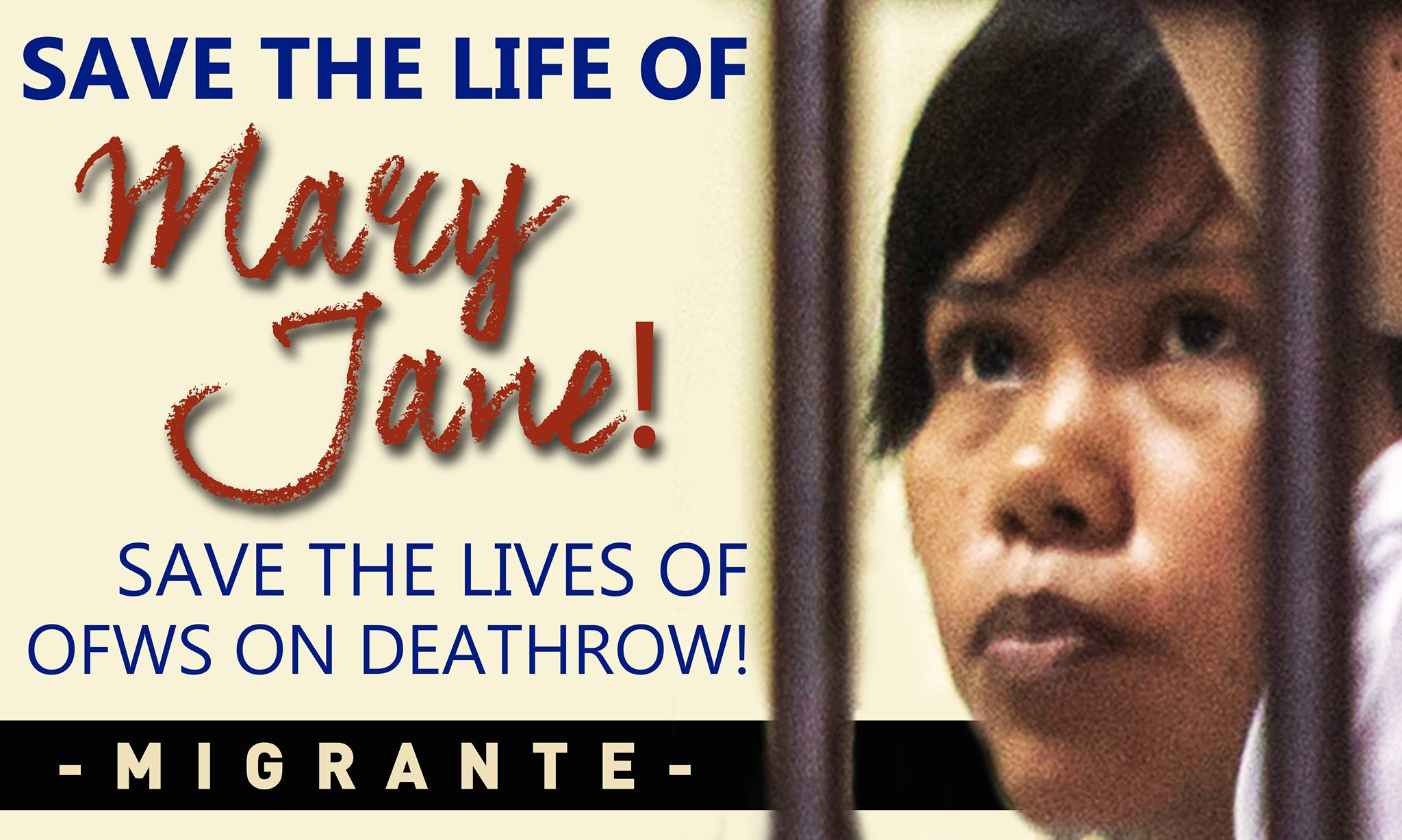 Appeal for urgent action save the life of Filipina Mary Jane.