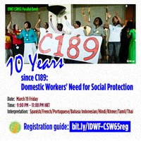 CSW65: 10 Years since C189: Domestic Workers' Need for Social Protection
