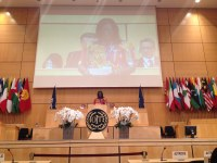 Global: Mme Asmaou Bah from Guinee, representing IUF/IDWF speaking at ILO Assembly Hall