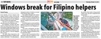 Hong Kong: Windows break for Filipino domestic workers