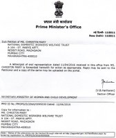 India: acknowledgement letters from the Prime Minister Office (PMO) on addressing the issues of domestic workers