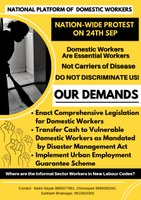 India: Domestic Workers nation-wide protest against exclusion by new labour codes