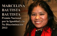 Marcelina Bautista receives the Mexican National Award for Equality and No Discrimination