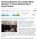 Saudi Arabia: Kusuma Nandina, Sri Lankan Domestic Worker, Worked 17 Years Without Pay