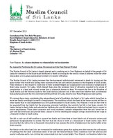 Sri Lanka: Appeal letter to the king of Saudi Arabia by The Muslim Council of Sri Lanka