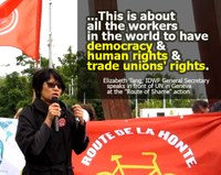 "Switzerland: Elizabeth Tang speaks in front of UN in Geneva at the ""Route of Shame"" action"