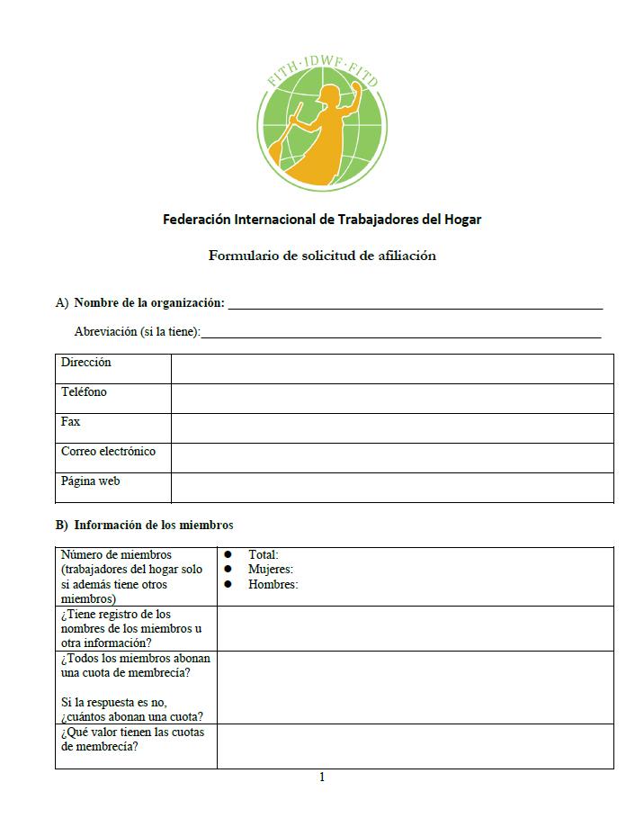 FITH Formulario de solicitud de afiliación