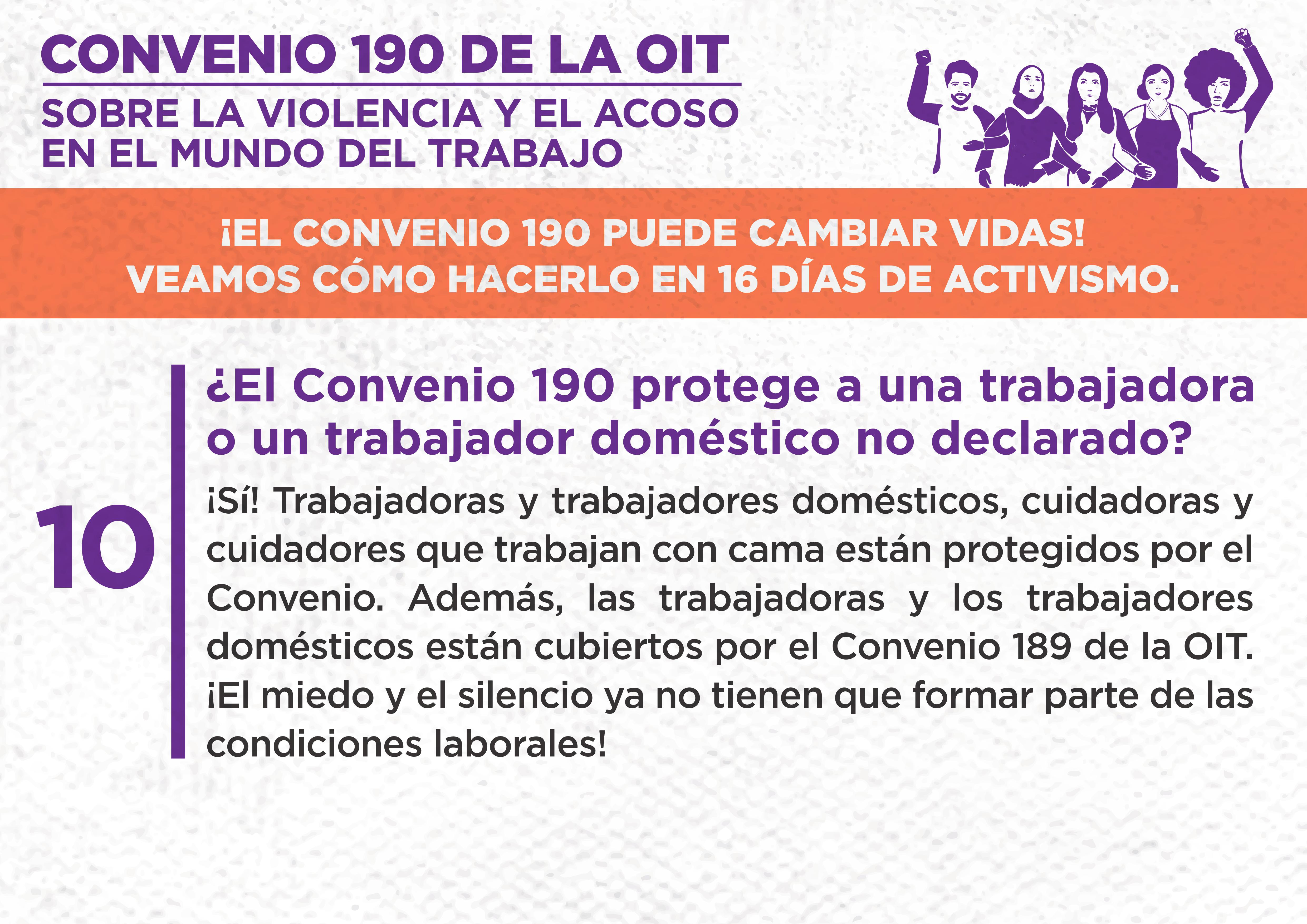 10. ¿El Convenio 190 protege a una trabajadora o un trabajador doméstico no declarado?