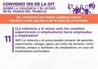 11. ¿La violencia y el acoso solo los cometen supervisores o empleadores hacia empleadas y empleados?