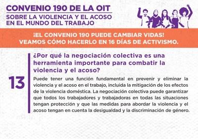13. ¿Por qué la negociación colectiva es una herramienta importante para combatir la violencia y el acoso?
