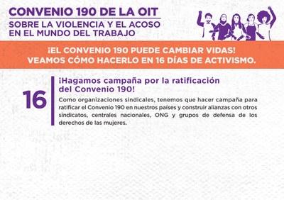 16. ¡Hagamos campaña por la ratificación del Convenio 190!