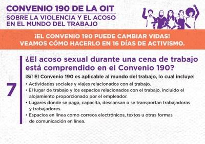 7. ¿El acoso sexual durante una cena de trabajo está comprendido en el Convenio 190?