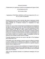 Informe del Seminário Fortalecimiento de la organizacion Sindical de las trabajadoras del hogar en Brasil 4-6 de Diciembre de 2015