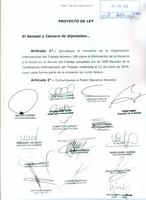 Proyecto de Ley, Convenio 190