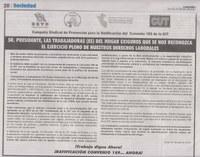 Perú: Los sindicatos hacen campaña juntos el envío de una carta conjunta al presidente