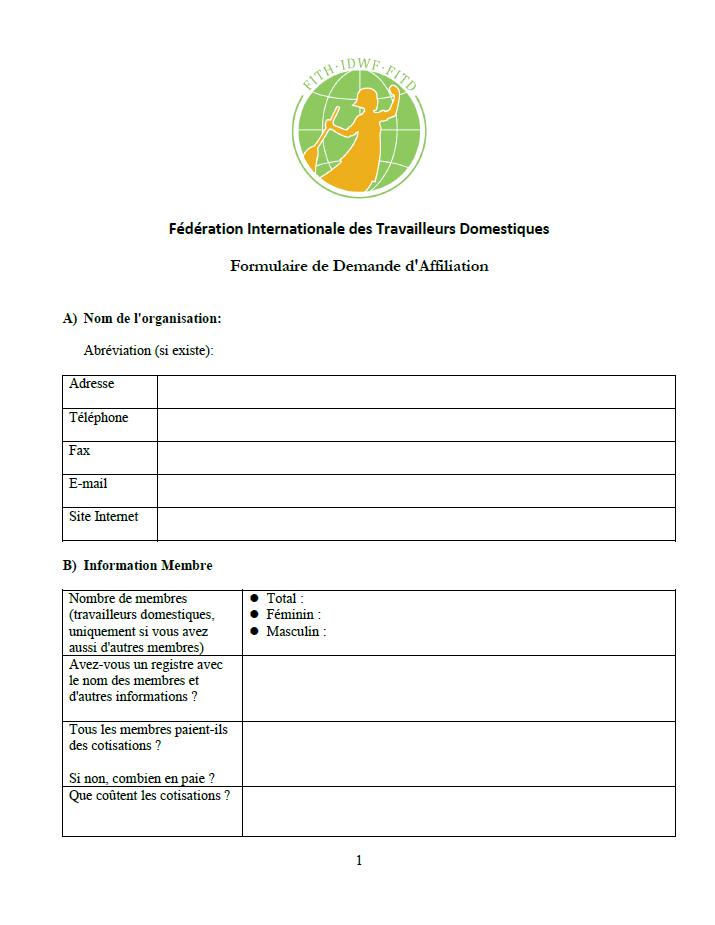 FITD Formulaire de Demande d'Affiliation