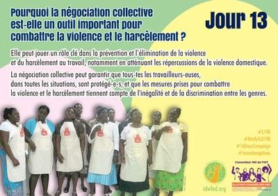 13. Pourquoi la négociation collective est-elle un outil important pour combattre la violence et le harcèlement ?