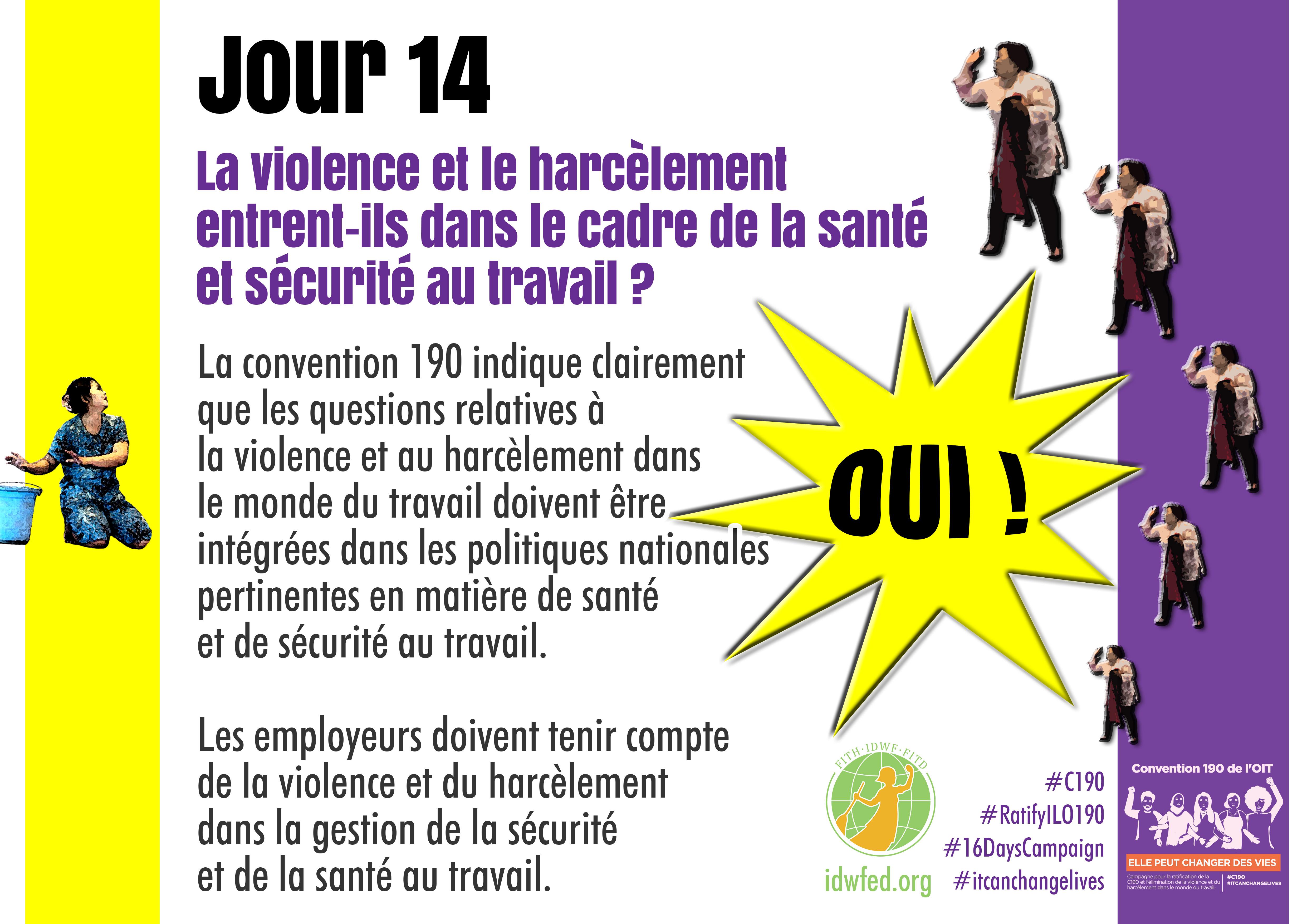 14. La violence et le harcèlement entrent-ils dans le cadre de la santé et sécurité au travail ?