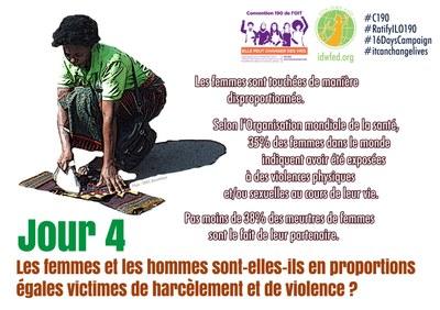 4. Les femmes et les hommes sont-elles-ils en proportions égales victimes de harcèlement et de violence ?